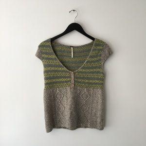 Free People Cap Sleeve Mixed Media Sweater Top